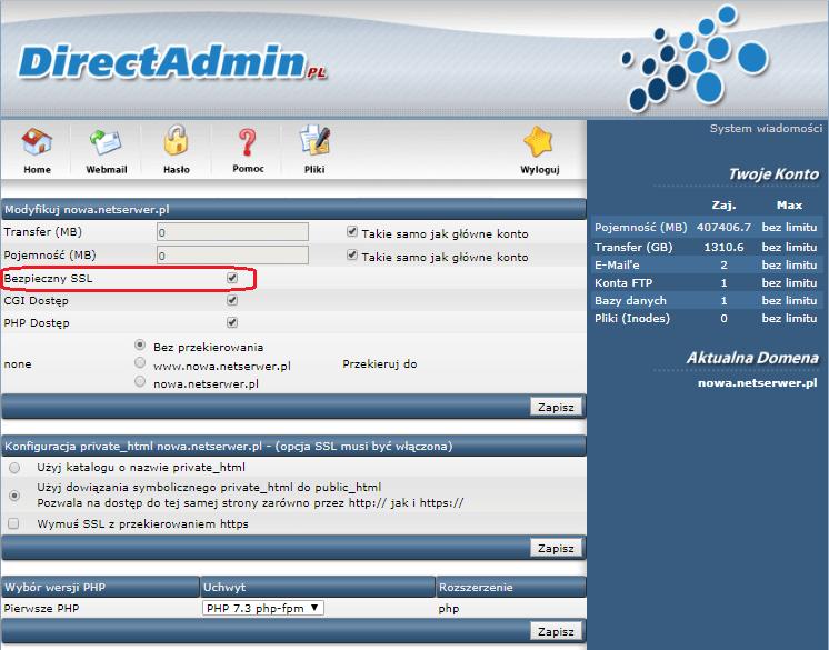 Instalacja certyfikatu SSL Krok 1