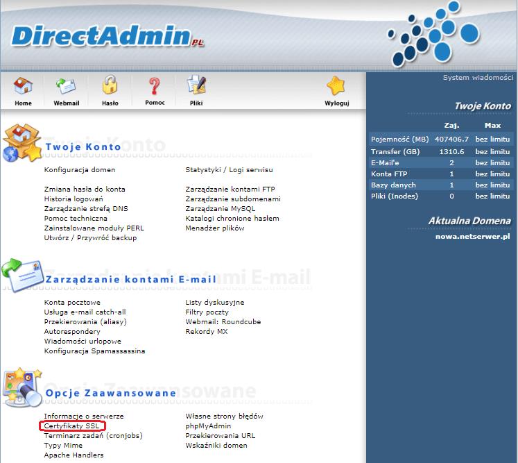 Instalacja certyfikatu SSL Krok 3
