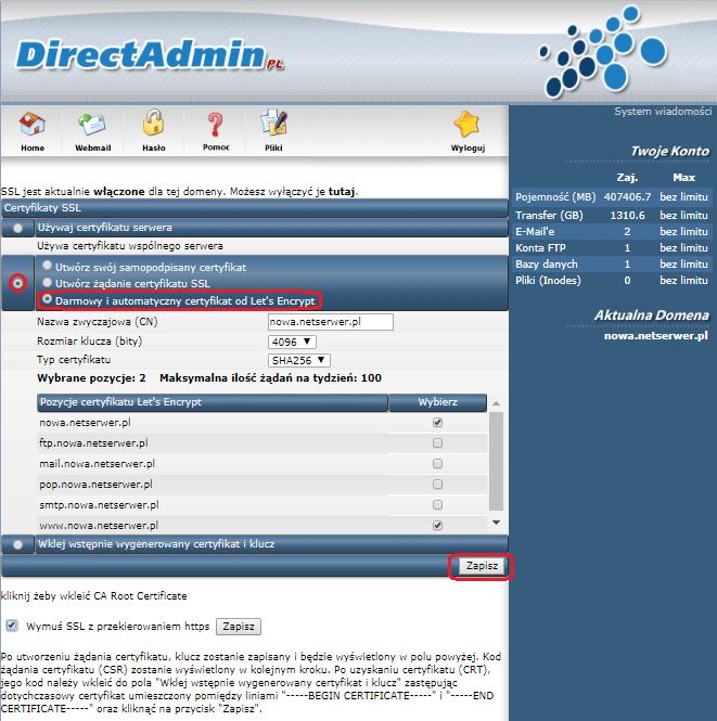 Instalacja certyfikatu SSL Krok 4